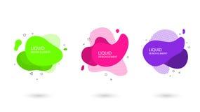 Modern minimal trendy abstract fluid set. Flat geometric liquid elements royalty free illustration