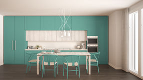Modern minimal turquoise kitchen with wooden floor, classic inte Royalty Free Stock Photography