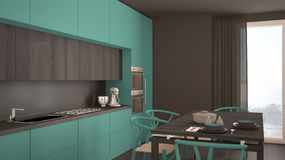 Modern minimal turquoise kitchen with wooden floor, classic inte Royalty Free Stock Image