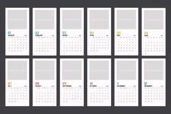 Modern minimal vertical Calendar Planner Template for 2018. Vector design editable template stock illustration