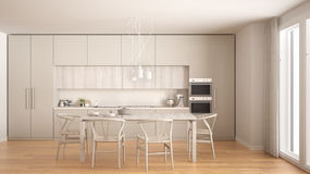 Modern minimal white kitchen with wooden floor, classic interior Royalty Free Stock Photography