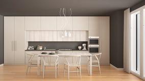 Modern minimal white kitchen with wooden floor, classic interior Royalty Free Stock Photos