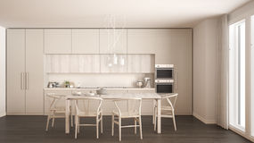 Modern minimal white kitchen with wooden floor, classic interior Royalty Free Stock Images