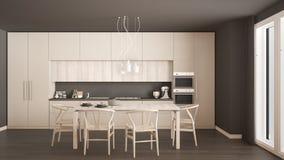 Modern minimal white kitchen with wooden floor, classic interior Stock Image