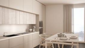 Modern minimal white kitchen with wooden floor, classic interior Stock Photo
