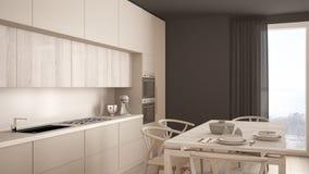Modern minimal white kitchen with wooden floor, classic interior. Design Royalty Free Stock Photo