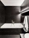 Modern minimalism style bathroom interior. In black and white tones Royalty Free Stock Images