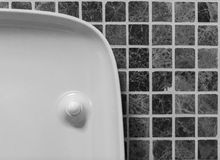Modern minimalism style bathroom interior in black and white tones. Fragment of the interior of the bathroom. Stock Photography