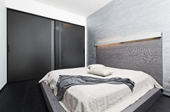 Modern minimalism style bedroom interior Stock Images