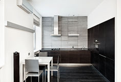 Modern minimalism style kitchen interior Royalty Free Stock Photos