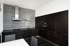 Modern minimalism style kitchen interior. In monochrome tones Stock Images