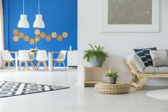 Modern minimalist apartment. Interior in blue and white with chairs, table and plants Royalty Free Stock Photography