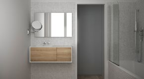 Modern minimalist bathroom with parquet oak wood floor and white mosaic tiles, wooden sink, mirror and bathtub, contemporary. Architecture interior design stock image