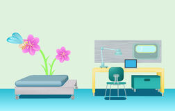 Modern minimalist bedroom_2. Image of bed room with bed, yellow table green cabinet, green soft chair, desk lamp, laptop, mirror and ornamented wall with flower Stock Photo