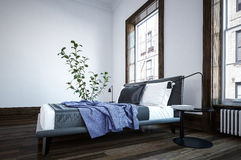 Modern minimalist black and white bedroom. Interior with blue throw on the bed in front of large windows and a potted plant. 3d Rendering Stock Image