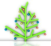 Modern, minimalist Christmas tree with baubles Royalty Free Stock Photo