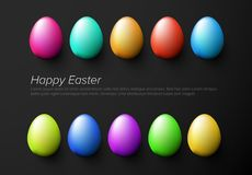 Modern minimalist colorful happy easter card template. Modern minimalist colorful happy easter card with colorful eggs - dark version vector illustration