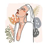 Modern minimalist continuos line female portrait. Trendy abstract illustration. Vector colored art. Woman make up in. Jungle plants. Branding, logo, icon, blog vector illustration