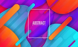 Modern minimalist cover design. Vector abstract banner with flowing dynamic gradient shapes. 3d layered paper poster. Business presentation or brochure Royalty Free Stock Photos