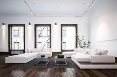 Modern minimalist designer living room interior Royalty Free Stock Photos
