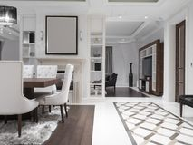 Modern minimalist dining room Royalty Free Stock Images