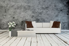 Modern minimalist grey and white interior decor Royalty Free Stock Image