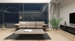 Modern minimalist Interior design. Render (CGI Stock Images