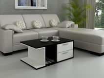 Modern Minimalist Living-room. Modern minimalist furniture for the home interiors Royalty Free Stock Image
