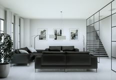 Modern minimalist living room interior in loft design style with sofas. 3d Rendering stock image