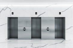 Modern minimalist lobby interior with three steel lift doors. Modern minimalist business centre lobby interior with three closed steel lift doors stock photo
