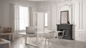 Modern minimalist office in classic vintage room with fireplace,. Luxury white and gray interior design Stock Photography
