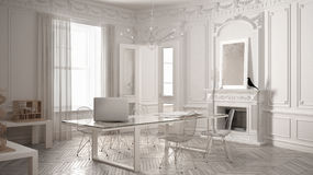 Modern minimalist office in classic vintage room with fireplace,. Luxury white interior design Stock Images