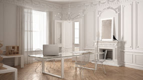 Modern minimalist office in classic vintage room with fireplace,. Luxury white interior design Stock Image