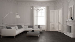 Modern minimalist sofa in classic vintage living room with firep. Lace, luxury white and gray interior design Royalty Free Stock Photos