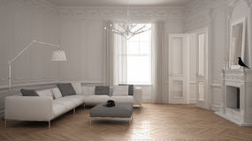 Modern minimalist sofa in classic vintage living room with firep. Lace, luxury white interior design Royalty Free Stock Photo