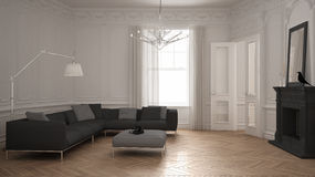 Modern minimalist sofa in classic vintage living room with firep. Lace, luxury white interior design Royalty Free Stock Photos
