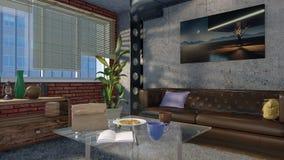 Modern minimalist vardagsruminre i vinden 3D Arkivfoto
