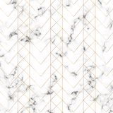 Modern minimalist white marble texture with gold geometric lines pattern. Background for designs banner, card, flyer, invitation,