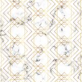 Modern minimalist white marble texture with gold geometric lines pattern. Background for designs banner, card, flyer, invitation,. Party, birthday, wedding stock illustration