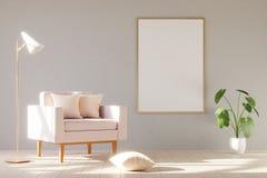 Modern minimalistic inre med en fåtölj 3d framför arkivfoto
