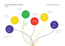 Modern minimalistic mindmap design. Useful for presentation, web design or advertisement. Colorful rounds Royalty Free Stock Images
