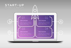 Modern minimalistic start up themed infographic template. With four boxes for text, laptop and rocket illustration royalty free illustration