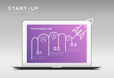 Modern minimalistic startup themed vector infographic template. With three steps or options, laptop and launching rocket illustration royalty free illustration