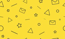Modern minimalistic style seamless pattern on the yellow background. Letters, e-mail, stars and triangle icons. vector illustration