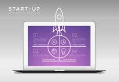 Modern minimalistic vector startup themed infographic template w. Ith four steps or options, laptop and launching rocket illustration vector illustration