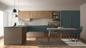 Modern minimalistic wooden kitchen with dining table, carpet and panoramic window, white and blue architecture interior design. Modern minimalistic wooden stock illustration