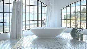 Modern minimalistisch wit badkamersbinnenland royalty-vrije stock afbeelding