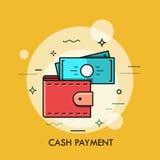 Modern minsta plan tunn linje illustration för plånbokbegreppsvektor stock illustrationer