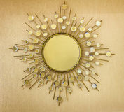 Modern Mirror. Golden Modern Style Mirror Frame On Wooden Background Royalty Free Stock Images