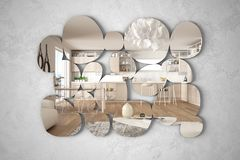 Free Modern Mirror In The Shape Of Pebbles Hanging On The Wall Reflecting Interior Design Scene, Bright White And Wooden Kitchen With Royalty Free Stock Photos - 156964138